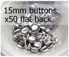 15mm self cover metal BUTTONS FLAT backs (sz 24) 50 QTY + FREE instructions