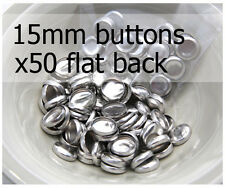 15mm self cover metal BUTTONS FLAT backs (sz 24) 50 QTY + FREE instructions