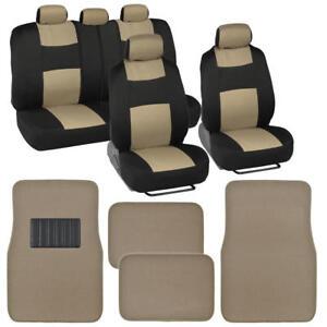 Car Seat Cover Set w/ Carpet Floor Mats for Front & Rear Universal Fit Beige
