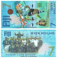 Fiji $7 Seven Dollars 2017  Rugby 7s Commemorative Banknotes  P-120  UNC