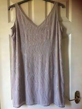 BHS, silver, beaded dress size 18 petite,sleeveless,V neck/back, slit up back,