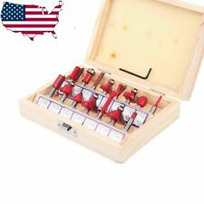 """15PC Carbide Router Bit Set 1/4"""" Shank and Wood Commercial Woodworking Tools"""
