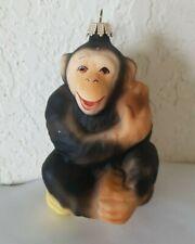 KREBS LAUSCHA Glas Chimpanzee Monkey Glass Christmas Tree Ornament Germany