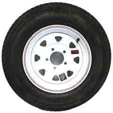 "13"" 5-4.5"" Bolt Circle White Spoke Wheel and ST17580D13C Bias Trailer Tire"