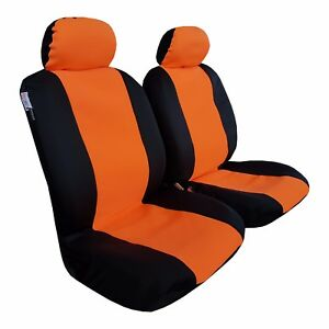 New Arrival Neoprene 2pcs Front Universal Size Car Seat Covers Orange / Black