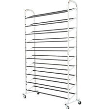 50 pair shoe rack storage organizer 10 tier chorme shoe rack with wheels s59