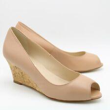 LK Bennett Damas Peep Toe Cuña Tribunal Zapatos Talla 3 36 Beige Cuero Cuña De Corcho