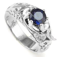 Men's Solid 18k White Gold & Ceylon Sapphire Ring #R1382