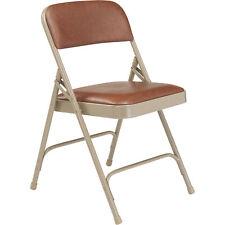 Steel Folding Chairs w/Vinyl Padded Seat & Back- Set of 4 Honey Brown/Beige