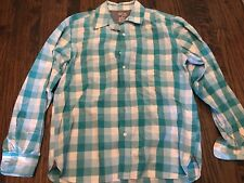 Men's Blue Green & White Check, Long Sleeve, Button Down Shirt, Size M, Fitted
