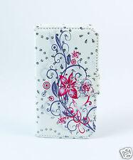 Samsung Galaxy S6 Edge Case Flip Cover Etui Tasche Hülle Blumen Bunt Strass 2