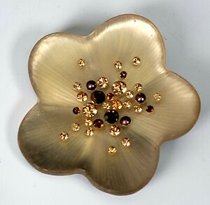"""ALEXIS BITTAR CARVED LUCITE FLORAL SHAPED CRYSTALS BROOCH PIN 2"""""""
