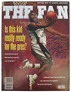"Lakers Kobe Bryant ""Best Wishes"" Signed 1996 The Fan Magazine Auto Graded 10 PSA"