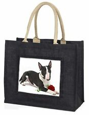 Bull Terrier Dog with Red Rose Large Black Shopping Bag Christmas P, AD-BUT2RBLB