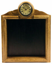 Wooden Framed Wall Mounted Blackboard with Integrated Roman Numeral Clock
