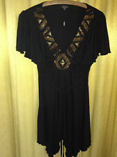 Black Tunic Mini Dress Julien MacDonald Ruffled Sleeve Bronze Beading V-Neck