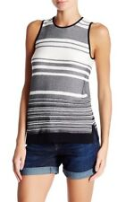 VINCE. Multi Striped Black, Off White Tank Top Knit Slvlss Side Vents M NWT $125