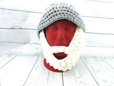 Knitted Beanie With Beard Grey Gray White Unisex Knit Handmade Winter Ski Adult