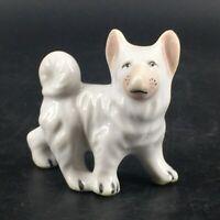 Vintage Shiba Inu Akita Small Porcelain White Dog Figurine Standing Japan