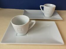 RARE Nespresso Signature Embossed White Lungo Cup & Large Rectangular Saucer x2