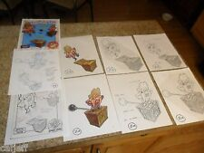 9 lot ORIGINAL COLOR ART LOONEY TUNES YOSEMITE SAM BURGER KING FASTFOOD TOY TNT