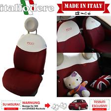 Schonbezüge FIAT 500 maßgeschniedert! Sitzbezüge 500 KOMPLETTER SATZ Ecrù+Rot