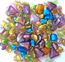 Destash SALE Chinese Lampwork Foil Murano Beads Mixed Colors Shapes Sizes