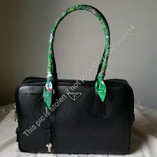 Auth PRADA Hand Bag Mini Boston Saffiano Leather Black *FREE SHIP*