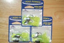 2 packs blakemore road runner 2 pr 1/8oz chartreuse silver crappie thunder jig