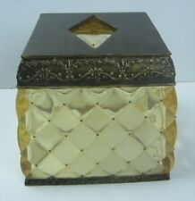 Square Tissue Box Cover Amber Crystal Bronze Copper Bed Bath and Beyond NOS