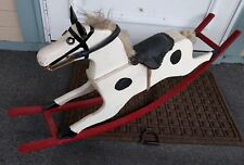 White Black Wooden Rocking Horse Primitive Nursery Toy Kid Glider Prop Craft