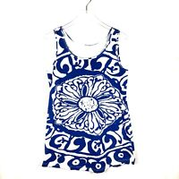 Soft Surroundings Sleeveless Tank Tunic Top Medium Blue White Floral Scoop Neck