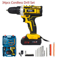 34Pcs 21-Volt Electric Cordless Drill Driver Kit w/ Bits & Battery & Charger Set