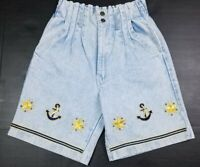 Vtg Super High Waist Paper Bag Back Elastic Embroidered Denim Mom Shorts S 90s