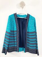 Bonmarche Caftan ladies Jacket Sz 12 Holiday Casual Blue Mix Fashion Long Sleeve