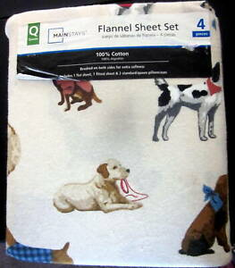 Mainstays 4 Piece Dog Print Queen Size Flannel Sheet Set 100% Cotton New Cozy