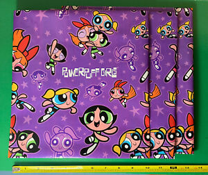 """1990s Power Puff Girls Gift Wrapping Paper American Greetings 3 Sheets 30x33"""""""