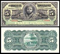 1914 $5 Mexico Banco De Tamaulipas Series H Remainder Uncirculated Pick# S429d