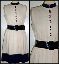 VINTAGE 60S SHUBETTE MINI BELTED DRESS 2 TONE UK 10 12 MOD GOGO