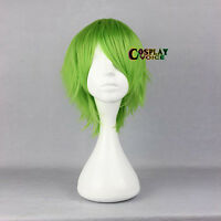40cm Green Short Layered Heat Resistant Cosplay Anime Hair Full Wig+Free Wig Cap