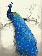 YEESAM ART Paint by Number Kits for Adults Kids Christmas Gifts - Blue Peacock