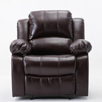 Overstuffed Recliner Chair Padded Sofa Breathable Leather Heavy Duty Material