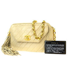 Authentic CHANEL CC Logo Fringe Chain Shoulder Bag Leather Beige Vintage 28ET606