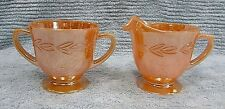 Old Fire King Peach Luster Laurel Vintage Oven Ware Glass Sugar Creamer FREE S/H