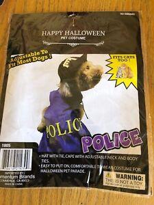 Happy Halloween POLICE PET COSTUME fits CATS TOO HAT & CAPE w/Adjustable Ties