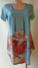 Simply Aster New size XL/16 blue red top short sleeves NWT border print