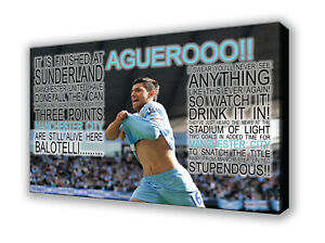 Manchester City - Aguerooo!! - Wall Canvas Picture Print Wall Art 63x40cm