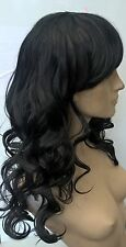 jet black curly wavy fringe very long hair wig fancy dress cosplay free cap