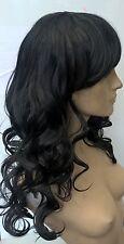 jet black curly wavy fringe very long hair wig fancy dress cosplay free cap new