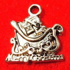 "50Pcs. WHOLESALE Tibetan Silver ""MERRY CHRISTMAS"" SANTA SLEIGH Charms  Q0550"